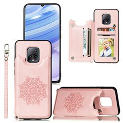 Luxury Mandala Multi-function Magnetic Card Slots Stand Leather Back Cover for Xiaomi Redmi 10X Pro 5G - Rose Gold