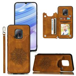 Luxury Mandala Multi-function Magnetic Card Slots Stand Leather Back Cover for Xiaomi Redmi 10X Pro 5G - Brown