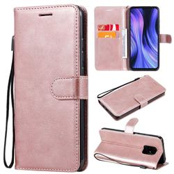 Retro Greek Classic Smooth PU Leather Wallet Phone Case for Xiaomi Redmi 10X Pro 5G - Rose Gold