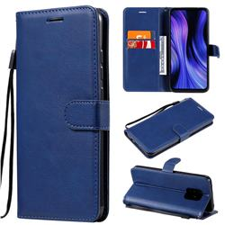 Retro Greek Classic Smooth PU Leather Wallet Phone Case for Xiaomi Redmi 10X Pro 5G - Blue