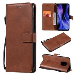 Retro Greek Classic Smooth PU Leather Wallet Phone Case for Xiaomi Redmi 10X Pro 5G - Brown