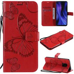 Embossing 3D Butterfly Leather Wallet Case for Xiaomi Redmi 10X Pro 5G - Red