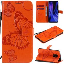Embossing 3D Butterfly Leather Wallet Case for Xiaomi Redmi 10X Pro 5G - Orange