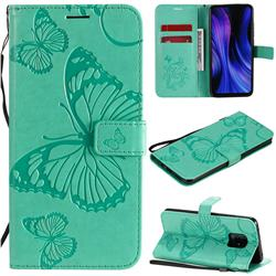 Embossing 3D Butterfly Leather Wallet Case for Xiaomi Redmi 10X Pro 5G - Green