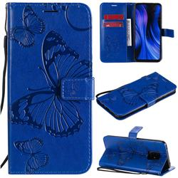 Embossing 3D Butterfly Leather Wallet Case for Xiaomi Redmi 10X Pro 5G - Blue