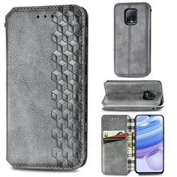 Ultra Slim Fashion Business Card Magnetic Automatic Suction Leather Flip Cover for Xiaomi Redmi 10X Pro 5G - Grey