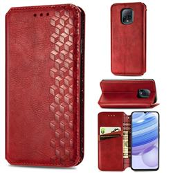 Ultra Slim Fashion Business Card Magnetic Automatic Suction Leather Flip Cover for Xiaomi Redmi 10X Pro 5G - Red