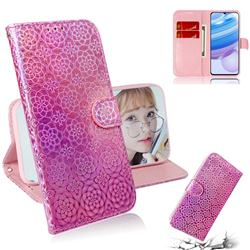 Laser Circle Shining Leather Wallet Phone Case for Xiaomi Redmi 10X Pro 5G - Pink