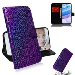 Laser Circle Shining Leather Wallet Phone Case for Xiaomi Redmi 10X Pro 5G - Purple