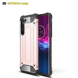King Kong Armor Premium Shockproof Dual Layer Rugged Hard Cover for Moto Motorola Edge - Rose Gold