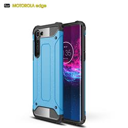 King Kong Armor Premium Shockproof Dual Layer Rugged Hard Cover for Moto Motorola Edge - Sky Blue