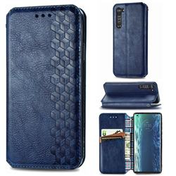 Ultra Slim Fashion Business Card Magnetic Automatic Suction Leather Flip Cover for Moto Motorola Edge - Dark Blue