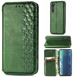 Ultra Slim Fashion Business Card Magnetic Automatic Suction Leather Flip Cover for Moto Motorola Edge - Green