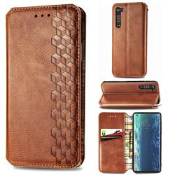 Ultra Slim Fashion Business Card Magnetic Automatic Suction Leather Flip Cover for Moto Motorola Edge - Brown
