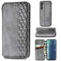 Ultra Slim Fashion Business Card Magnetic Automatic Suction Leather Flip Cover for Moto Motorola Edge - Grey