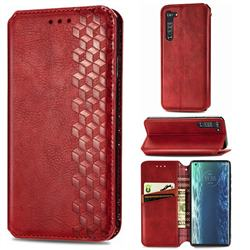 Ultra Slim Fashion Business Card Magnetic Automatic Suction Leather Flip Cover for Moto Motorola Edge - Red