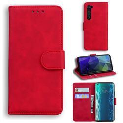 Retro Classic Skin Feel Leather Wallet Phone Case for Moto Motorola Edge - Red