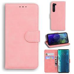 Retro Classic Skin Feel Leather Wallet Phone Case for Moto Motorola Edge - Pink