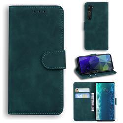 Retro Classic Skin Feel Leather Wallet Phone Case for Moto Motorola Edge - Green