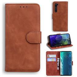 Retro Classic Skin Feel Leather Wallet Phone Case for Moto Motorola Edge - Brown