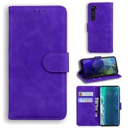 Retro Classic Skin Feel Leather Wallet Phone Case for Moto Motorola Edge - Purple