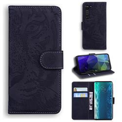 Intricate Embossing Tiger Face Leather Wallet Case for Moto Motorola Edge - Black