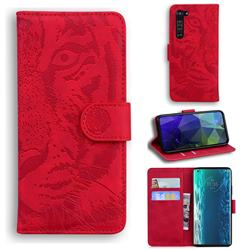 Intricate Embossing Tiger Face Leather Wallet Case for Moto Motorola Edge - Red