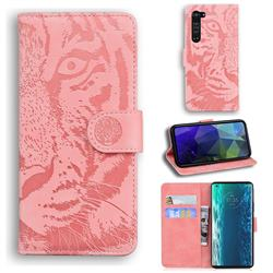 Intricate Embossing Tiger Face Leather Wallet Case for Moto Motorola Edge - Pink