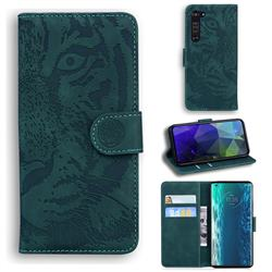 Intricate Embossing Tiger Face Leather Wallet Case for Moto Motorola Edge - Green