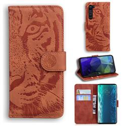 Intricate Embossing Tiger Face Leather Wallet Case for Moto Motorola Edge - Brown