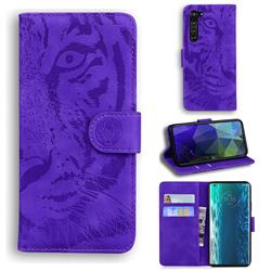 Intricate Embossing Tiger Face Leather Wallet Case for Moto Motorola Edge - Purple