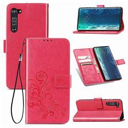 Embossing Imprint Four-Leaf Clover Leather Wallet Case for Moto Motorola Edge - Rose Red