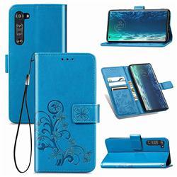 Embossing Imprint Four-Leaf Clover Leather Wallet Case for Moto Motorola Edge - Blue