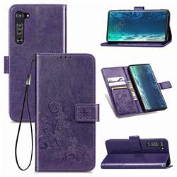 Embossing Imprint Four-Leaf Clover Leather Wallet Case for Moto Motorola Edge - Purple