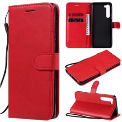 Retro Greek Classic Smooth PU Leather Wallet Phone Case for Moto Motorola Edge - Red