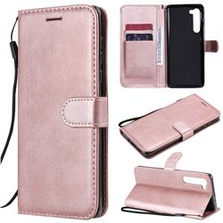 Retro Greek Classic Smooth PU Leather Wallet Phone Case for Moto Motorola Edge - Rose Gold
