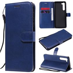 Retro Greek Classic Smooth PU Leather Wallet Phone Case for Moto Motorola Edge - Blue