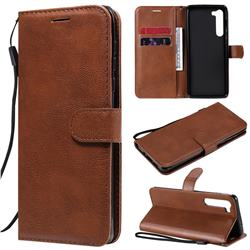 Retro Greek Classic Smooth PU Leather Wallet Phone Case for Moto Motorola Edge - Brown