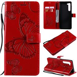 Embossing 3D Butterfly Leather Wallet Case for Moto Motorola Edge - Red