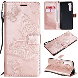 Embossing 3D Butterfly Leather Wallet Case for Moto Motorola Edge - Rose Gold
