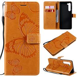 Embossing 3D Butterfly Leather Wallet Case for Moto Motorola Edge - Yellow
