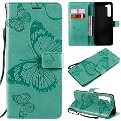 Embossing 3D Butterfly Leather Wallet Case for Moto Motorola Edge - Green