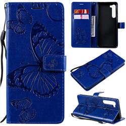 Embossing 3D Butterfly Leather Wallet Case for Moto Motorola Edge - Blue
