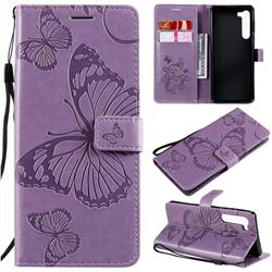 Embossing 3D Butterfly Leather Wallet Case for Moto Motorola Edge - Purple