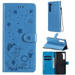 Embossing Bee and Cat Leather Wallet Case for Moto Motorola Edge - Blue