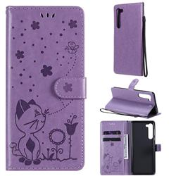 Embossing Bee and Cat Leather Wallet Case for Moto Motorola Edge - Purple