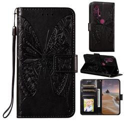 Intricate Embossing Vivid Butterfly Leather Wallet Case for Moto Motorola Edge Plus - Black