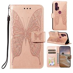 Intricate Embossing Vivid Butterfly Leather Wallet Case for Moto Motorola Edge Plus - Rose Gold
