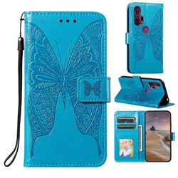Intricate Embossing Vivid Butterfly Leather Wallet Case for Moto Motorola Edge Plus - Blue
