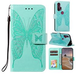 Intricate Embossing Vivid Butterfly Leather Wallet Case for Moto Motorola Edge Plus - Green